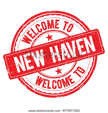NEW HAVEN. Welcome to stamp sign illustration