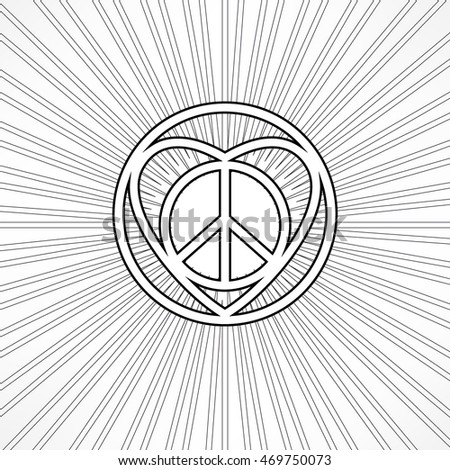 New Hippie Love Sign Intricate Mix Stock Vector 2018 469750073