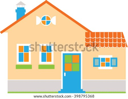 New house. New house Flat design. New cottage vector illustration. New house graphic. New cottage icon. New cottage concept. Rent. Sale.