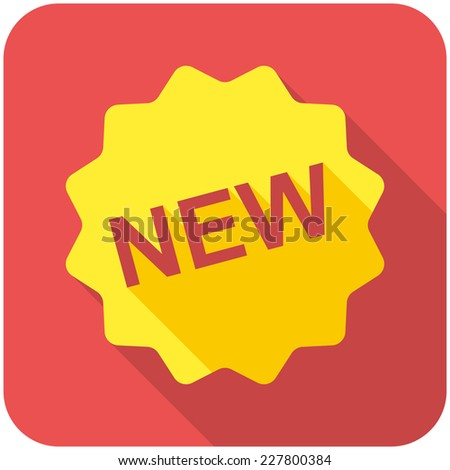 New icon (flat design with long shadows) - stock vector