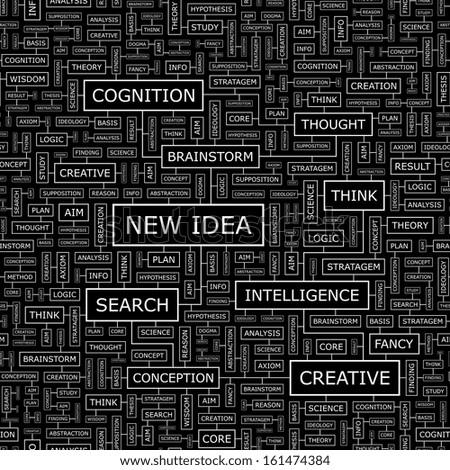 NEW IDEA. Seamless pattern. Word cloud illustration. Vector illustration. - stock vector