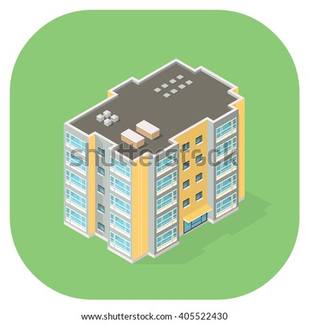 New Isometric Flat Icon apartments. Vector illustration of Modern Apartment homes. - stock vector