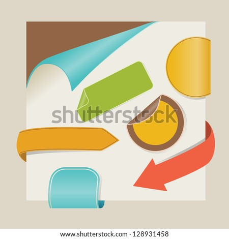 new items with retro colors - stock vector