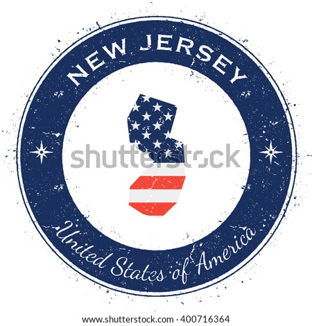 New Jersey circular patriotic badge. Grunge rubber stamp with USA state flag, map and the New Jersey written along circle border, vector illustration. - stock vector
