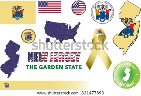 New Jersey Icons Set Vector Graphic Stock Vector 321477893