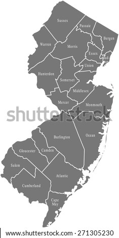 New Jersey County Map Stock Images RoyaltyFree Images Vectors - Nj county map