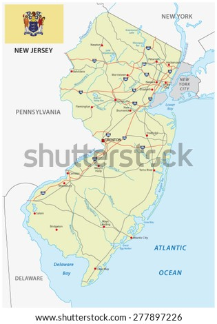 New Jersey Road Map Flag Stock Vector Shutterstock - Nj road map
