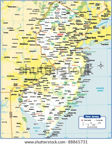 New Jersey State Map Stock Images RoyaltyFree Images Vectors - New jersey state map