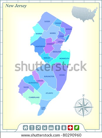 New Jersey State Map with Community Assistance and Activates Icons Original Illustration - stock vector