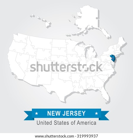 New Jersey state. USA administrative map.