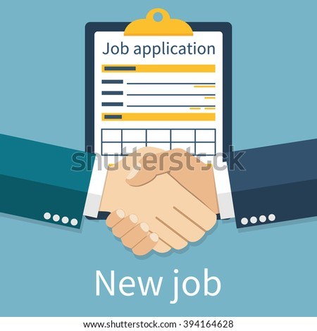 New job. Handshake two men in background for job. Job application form.  Vector illustration in flat design style. Application for employment. Successful partnership.  Recruitment. Deal. Hiring. - stock vector