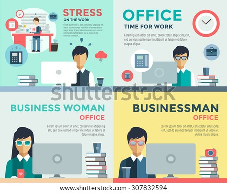 New job search and stress work infographic. Cv, head hunters, job search, new work. Labor Day. Office life and business man. Business situation. People in action. Computer, table, books, clock - stock vector