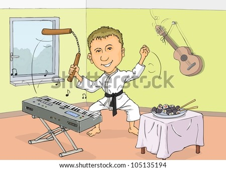 New Karate play the synthesizer and feast on sushi - stock vector
