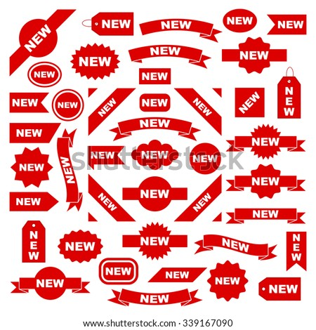 New labels, red isolated on white background, vector illustration. - stock vector