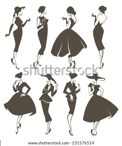 new look girls, large vector collection of girls in retro style - stock vector