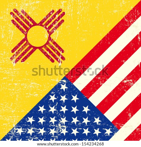 New Mexico and USA grunge Flag