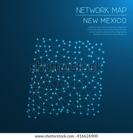 New Mexico network map. Abstract polygonal New Mexico network map design with glowing dots and lines. Map of New Mexico networks. Vector illustration. - stock vector