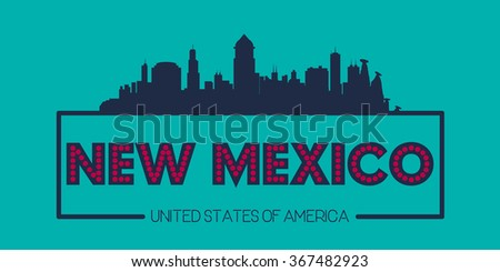 New Mexico skyline silhouette poster vector design illustration