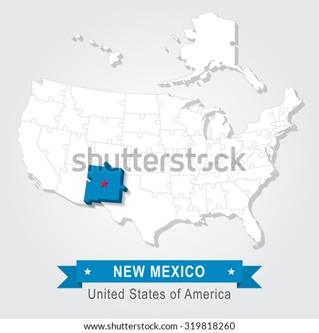 New Mexico state. USA administrative map.
