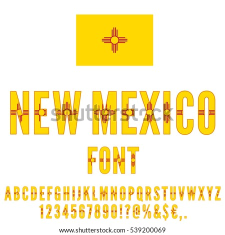 New Mexico Usa State Flag Font Stock Vector Hd Royalty Free