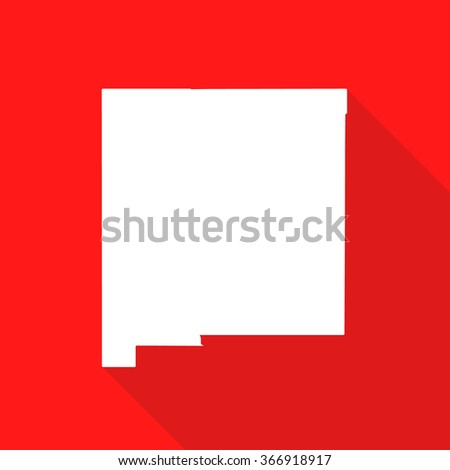 New Mexico white map,border flat simple style with long shadow on red background