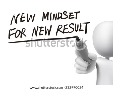 new mindset for new results written by 3d man over transparent board - stock vector