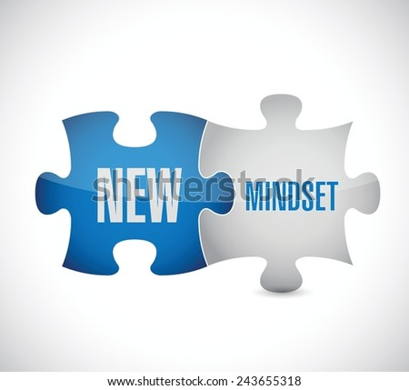 new mindset puzzle pieces illustration design over a white background - stock vector