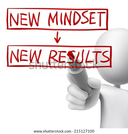 new mindset to new results written by 3d man over white  - stock vector