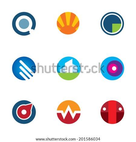 New mobile technology application circle set logo internet startup icon - stock vector