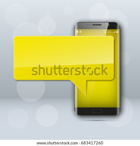New model Mobile phone with platform for communication. Cell mobile short message. Smartphone blank colloquial cloud banner. Cellular empty advertising poster.