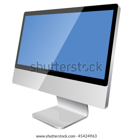 New modern blank monitor isolated on white background. - stock vector