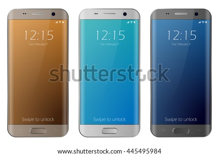 New modern realistic smartphone white, gold and black. Easy place image into screen smartphone with shiny layer. Vector eps 10 cell phone isolated. Samsung galaxy s7 edge style smartphone. Cellphone. - stock vector