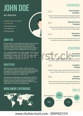 New modern resume cv curriculum vitae template with green stripe - stock vector