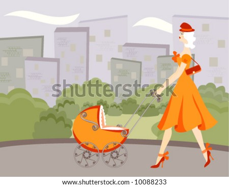 New mom fashionista walking in the street with baby stroller. Greenbelt and city in background. - stock vector