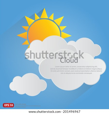 New orange sun with clouds vector blue sky background design