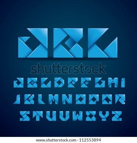 New Origami Alphabet - stock vector