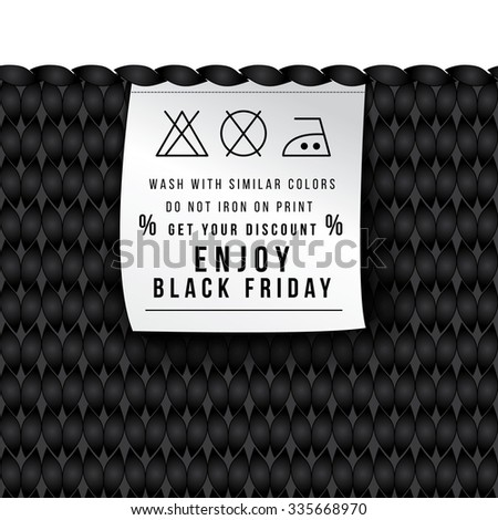 New original concept for an advertising campaign. Sales of clothing into a black Friday. Label with the rules of care jerseys. Get your discount and enjoy. Seamless knitted background. - stock vector