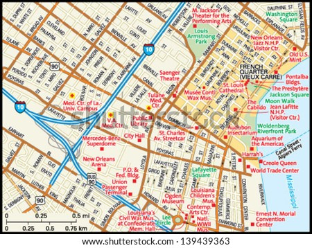 New Orleans Louisiana Downtown Map