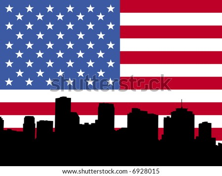 New Orleans skyline with American flag - stock vector