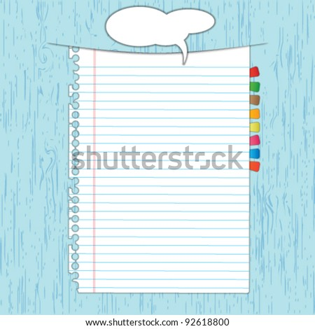 New paper page on wood board with colors bookmarks. - stock vector