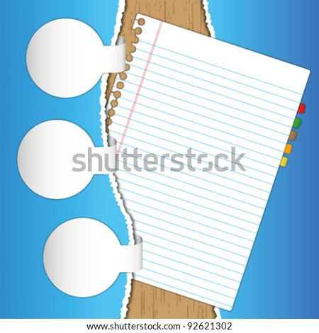 New paper page with label brochure. - stock vector