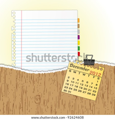 New paper sheet in rip wood folder and hold  2012 calendar December by paper clip. - stock vector