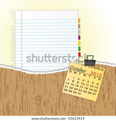New paper sheet in rip wood folder and hold  2012 calendar October by paper clip. - stock vector