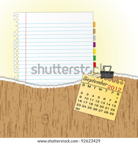 New paper sheet in rip wood folder and hold  2012 calendar September by paper clip. - stock vector