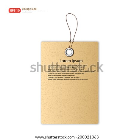 New Paper tag vintage label vector design
