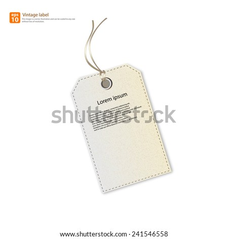 New Paper tag vintage label vector design - stock vector