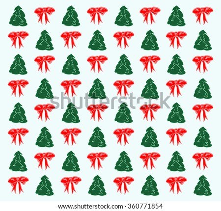 New pattern of trees and bows for packaging - stock vector