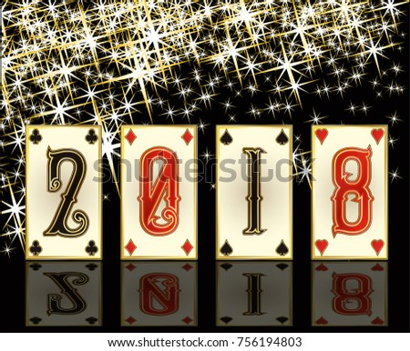 New 2018 poker year greeting card, vector illustration