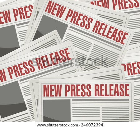 new press release illustration design over a newspaper background - stock vector