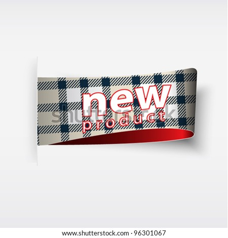new product. plaid stickers and tags - stock vector